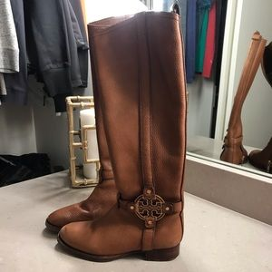 Tall Brown Leather Tory Burch Boots